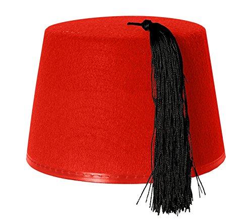 118a9ffda8ec 1x RED KUKI FEZ HAT FANCY DRESS ACCESSORY WITH BLACK TASSEL - FELT HAT FOR  MEN