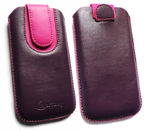 Emartbuy® Lila / Hot Rosa Premium PU Leder Slide in Hülle Tasche Sleeve Halter ( Größe 3XL ) Mit Pull Tab Mechanism Passend für Lumigon T2 HD