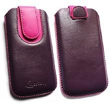 Emartbuy® Púrpura / Hot Rosa Premium Cuero PU Funda Carcasa Case Tipo Bolsa ( Size 3XL ) con Mecanismo de Pestaña para Estirar adecuada para Bogo LIfestyle 4SL-QC Smartphone 4 Inch