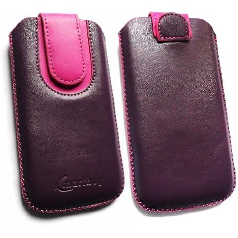 Emartbuy ® Value Pack Para Iphone 3G De Apple / 3Gs Purple / Hot Pink Slide Premium De Cuero De La Pu De La Bolsa / Estuche / Manga / Soporte (Tamaño Grande) Con Mecanismo De Extracción Tab + Cargador De Coche Compatible + Protector De Pantalla