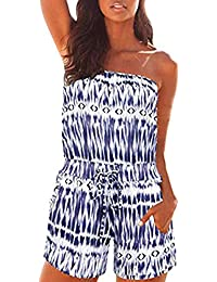 923ac98485cc Pioneer Clan Women Off Shoulder Boho Printed Strapless Striped Beach Shorts  Jumpsuit