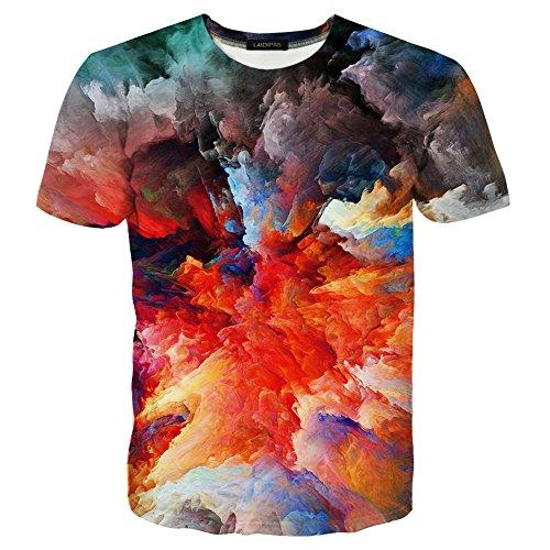 LAIDIPAS Unisex 3d Muster Gedruckt Farbige Stein Kurzarm T-Shirts T-Shirts XXL (Tunika Grafik-t-shirt)