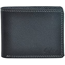 Gentleman Genuine Leather Wallet for Mens Boys Stylish Black Bi Fold