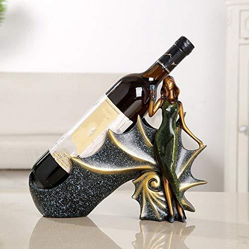 Resin Crafts Europäischen Weinregal Schönheit Haus Dekoration (Color : Green, Size : 30 * 10 * 23.5cm)