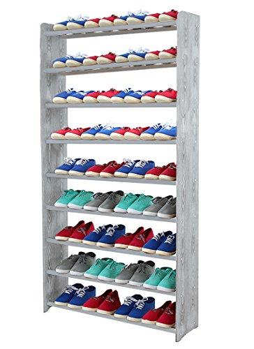 Schuhregal Schuhschrank Schuhe Schuhständer RBS-9-90 (Seiten hellgrau, Stangen in der Farbe grau)