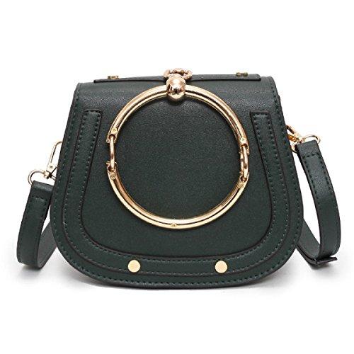 QPALZM 2017 Frau Ring Sattel Tasche Handtasche Retro Einfache Minimalistische Mini Handtasche Green