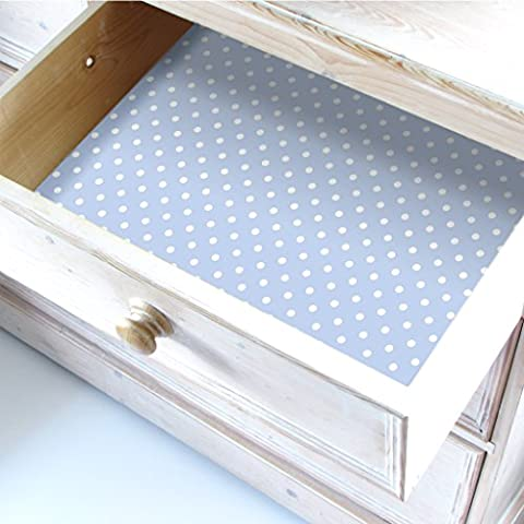 LIGHT BLUE Wipe clean Polka Dot Drawer & Shelf Liners.