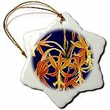 3dRose orn_56970_1 Tropical Blue N Orange Snowflake Porcelain Ornament, 3-Inch