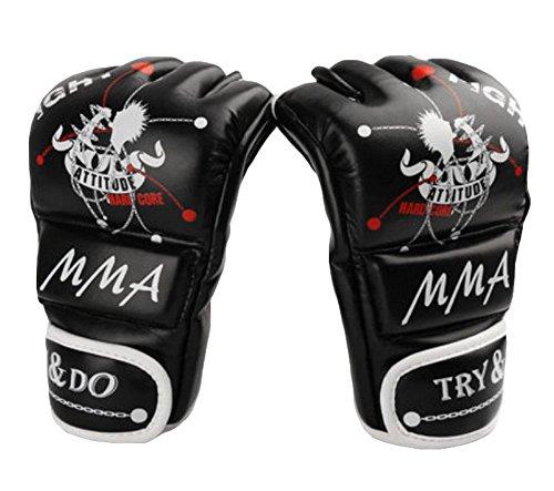 Boxen - Kickboxhandschuh halbe Finger-Handschuhe -MMA ---- Schwarz