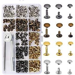 ETSAMOR Remaches para cuero 180pcs Remache de una tapa 3 tamaños pernos de metal herramientas cuero de reparación con kit de herramienta de fijación para artesanía de decoración jeans cinturón