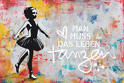 REINDERS Man muss Das Leben tanzen Poster - Papier - Groß Format 91,5 x 61 cm - Bunt - Mans Leben