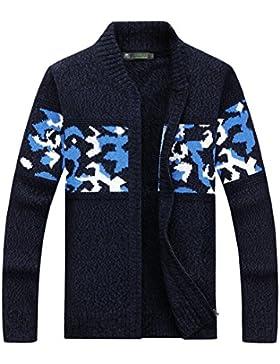 MEI&S Los hombres Zip suéter Cardigan tejido chaqueta casual untar