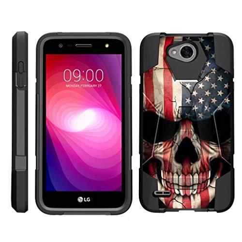 turtlearmor | Kompatibel für LG X Power 2Fall | LG Fiesta 2Case | LG X Charge [Dynamischer Shell] Schutzhülle Hybrid Dual Layer Hard Shell Ständer Silikon Fall -, US Flag Skull