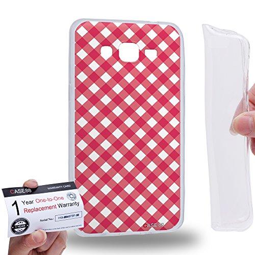 Case88 [Samsung Galaxy Grand Prime] Gel TPU Hülle / Schutzhülle & Garantiekarte - Art Coloured Doodle Patterns Pink Checker Art1406 Checker Tpu Gel