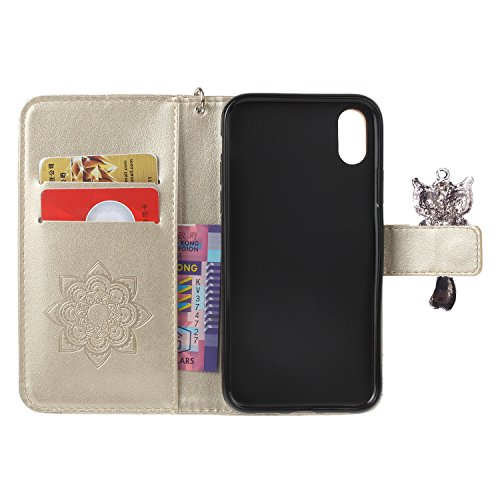 Coque PU diamant strass mignon hibou cuir iPhone X Bookstyle Étui fleurs Fleur Housse en Cuir Case à rabat pour Apple iPhone X Coque de protection Portefeuille TPU Case -photo Frame Keychain (DCF) 2