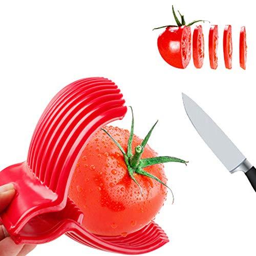 Cortador de tomate y limón, de acero, multiusos, redondo, para frutas, cebollas, fácil de cortar, frutas, kiwi y verduras, herramientas de cocina, apto para lavavajillas