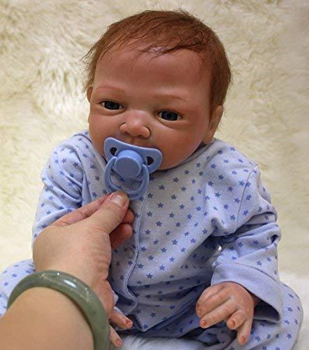 OUBL 18pulgadas 45 cm Bebe Reborn Muñeca Niño Silicona Real Ojos Abiertos Realista Baby Doll Boy Baratas Toddler Juguetes Recien Nacidos Toy