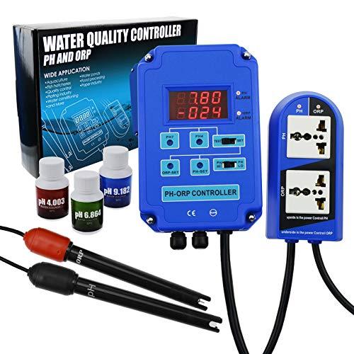 Controlador Digital De PH ORP Redox 2 En 1 Con Control De Relé De Potencia De Salida, Sonda De Electrodo BNC, Medidor De Calidad Del Agua, Kit De Medición Continua En Línea