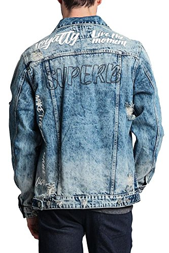 VICTORIOUS Distressed Denim Jacke - Blau - Mittel Distressed Denim Jacket