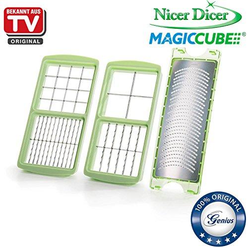 Genius Nicer Dicer Magic Cube Schneider Würfelschneider aus Edelstahl–Küchenschneider (grün)