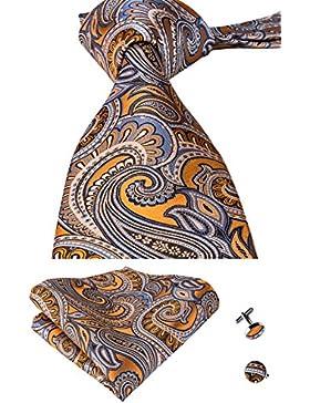 Set Hi-Tie de pañuelo y corbata de seda con estampado de cachemir, y gemelos, para hombre