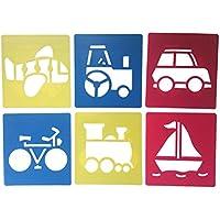 ROSENICE Plantillas de plantilla de dibujo de plástico para niños Plantilla lavable de manualidades para proyectos escolares (patrones aleatorios) 6 piezas