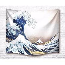 A.Monamour Tema Del Océano Azul La Gran Ola De Kanagawa Imprimir Tela Tapicería De Pared Para Niños Dormitorio Dormitorio Pared Decoración Accesorios