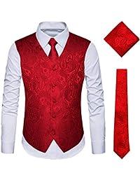 f4161a58e3d9e YIMANIE Men's Waistcoat Paisley Floral Jacquard Necktie Pocket Square  Handkerchief Vest Suit Set