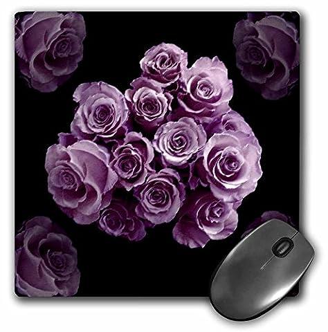 JaclinArt Garden Nature Florals Flowers Roses Bouquet Wedding - Pastel lilac purple rose bouquet on black background - MousePad (mp_27566_1)