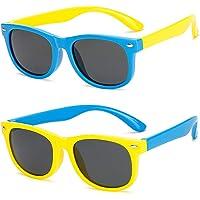 FANDE Ochiali da Sole, 2 Pezzi Occhiali Sole Bambino, Sunglasses per Bambini In Gomma UV400, Lente Polarizzata…