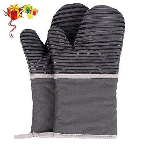Oummit Ofenhandschuhe für die Küche,Extrem Hitzebeständige Grillhandschuhe,Anti-Rutsch Backofen Handschuhe,zum Kochen,Backen,Barbecue Isolation Pads.100{318a4538188b0d8d717bde762395b975de02313fc8c7ce34ea993a3a997fef79} Baumwollfutter,Grau,1 Paar
