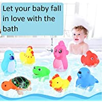 OUTANG Floating Soft Bath Toys Shower Toy Bathing and Squeaking Carton Fun Sea Animal Bathtub Silicone Bath Squirt Toys Set 12PCS