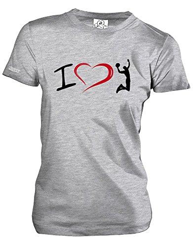 I LOVE BASKETBALL - Grau Meliert - WOMEN T-SHIRT by Jayess Gr. XXL