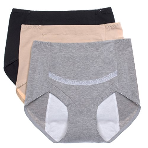 Intimate Portal Women Secret Agent Leak Proof Protective Underwear Period Knickers 3-Pk Black Beige Gray S