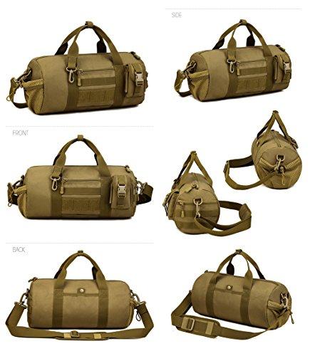 Taktisch Molle Umhängetasche, 4 Farben Outdoor Reisetasche Wasserdicht trommelförmig Handtasche Militär Handtasche Schultertasche mit Trageriemen von FLYHAWK K319Brown
