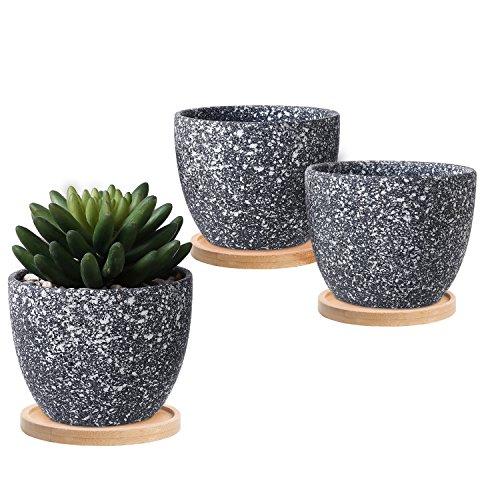 4-Zoll-Dark Grau gesprenkelt Glasur Sukkulente Übertopf Blumentopf, Set von 3