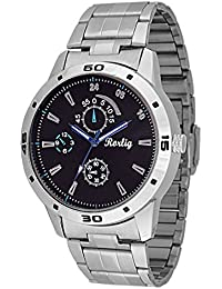 Trendy Latest Fashionable Silver Stainless Steel Strap Watch, Round Black Dial Analog Watch For Men's / Boys Casual...