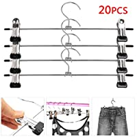 KingSaid Pack of 20 Metal Trouser Skirt Hangers with Clips Space Saving Metal Non-slip Clothes Pants Hangers