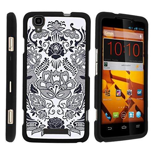 TurtleArmor Schutzhülle für ZTE Max+ Plus, ultradünn, matt, 2-teilig, kompaktes Design, Schwarz, Lotus Flower (Boost Mobile Phone Cases Zte Max)