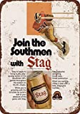 1974 Stag Beer and Football Vintage Look Reproduction Metal Tin Sign 8X12 Inches