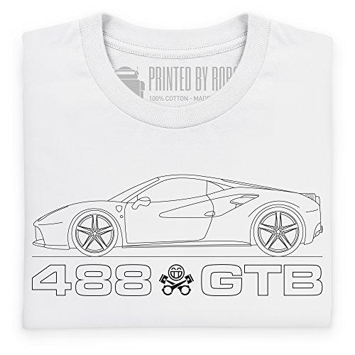 PistonHeads Black Horse 488 GTB T-Shirt, Herren Wei