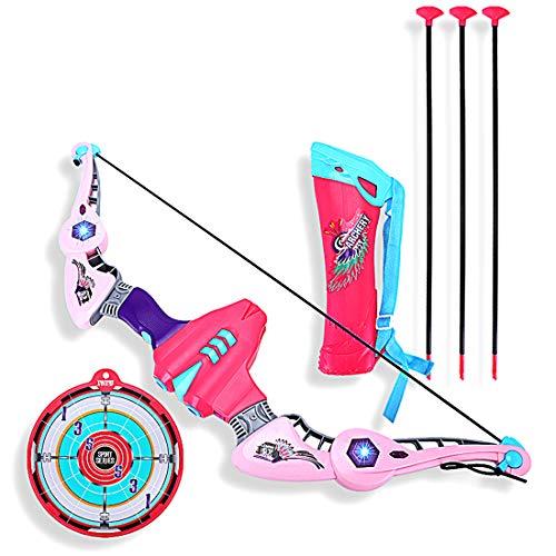 PHYNEDI Pfeil und Bogen Set, Recurve Bogen und Pfeil Set Kinder Bogenschießen Spielzeug Geschenk für Kinder (Rosa)