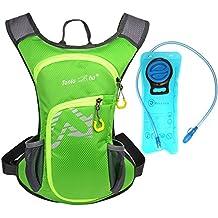 Rullaco - Mochila de hidratación con capacidad para 2 litros de agua, impermeable, para correr, ciclismo, escalada, unisex, verde