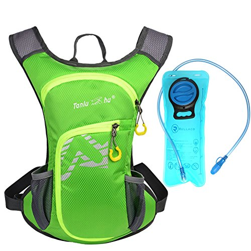 Rullaco 12L Hydration Pack with 2L Water Bladder – Waterproof Camping Hiking Running Biking Trekking Climbing Cyclng Hydration Backpack & Rucksack – Sports Outdoor Water Reservoir Bag For Women Men (Green)