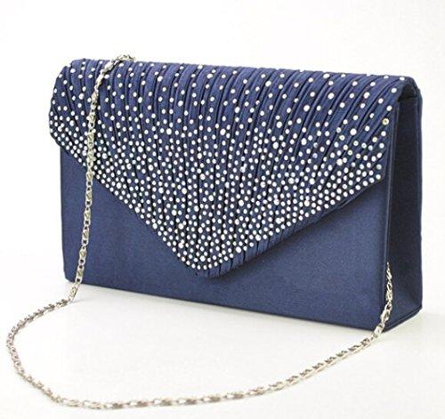 Clorislove Satin Strass Damen Clutch Abendtasche Handtasche Umhaengetasche (Navyblau)