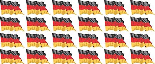 Mini Aufkleber Set - Pack wehend - 33x20mm - Sticker - Fahne - Germany - Deutschland - Flagge - Banner - Standarte fürs Auto, Büro, zu Hause und die Schule - 24 Stück