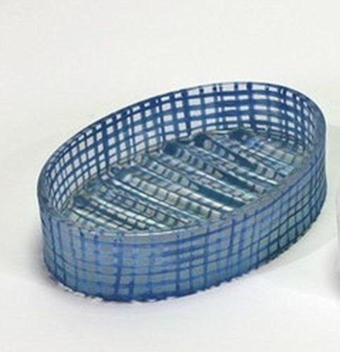 Unbekannt Seifenschale Seifenteller Oval Glas Blau Gemustert Karomuster Retro Look -