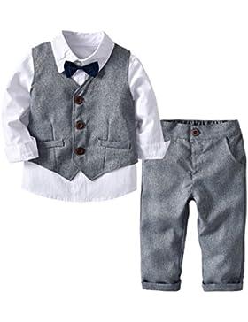 Echinodon [Bekleidungsset Junge Festlich] Kinder Hemd mit Fliege + Weste + Hose Kleinkinder Gentleman Set Baby...