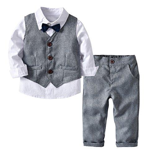 Echinodon [Bekleidungsset Junge Festlich] Kinder Hemd mit Fliege + Weste + Hose Kleinkinder Gentleman Set Baby Taufe Anzug Grau 120 - Jungen Anzug Set