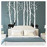 Kuke Wandtattoo Baum mit Hirsch Abnehmbare DIY Wand-Aufkleber Wandsticker für Wohnzimmer Sofa Hintergrund Schlafzimmer (L,Weiß)